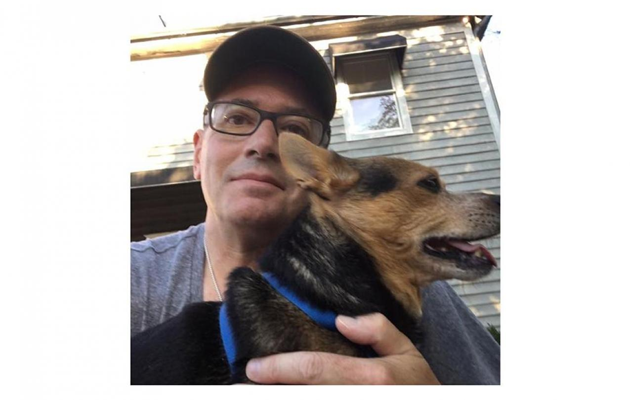 Gerry Fidler and Poochie, who he adopted while supporting AFSCME members in New Orleans in the aftermath of Hurricane Katrina.